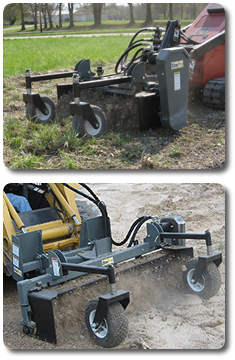 Piranha™ power landscape rakes skid steer attachment products from SitePro.