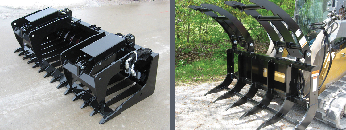 SitePro professional grade attachments - brush grapple and low profile tine grapple for skid steer