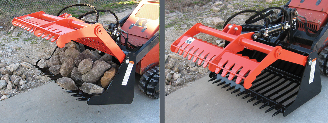 SitePro professional grade attachments - SARG-42 sweep action rock grapple for skid steer
