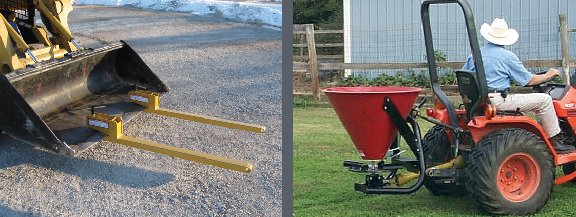 Clamp-on Bucket Forks and Seeders from SitePro